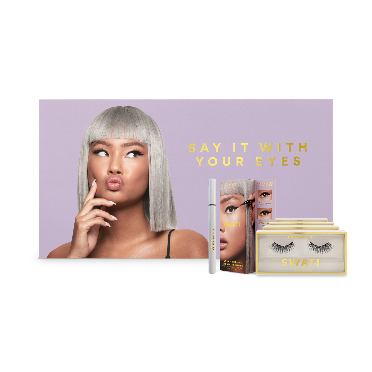 SWATI Cosmetics lash adhesive liquid eyeliner with faux mink lashes
