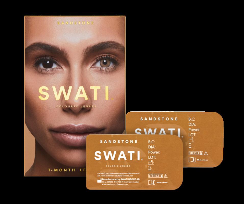 Light brown coloured lenses - Sandstone SWATI Monthly Lenses