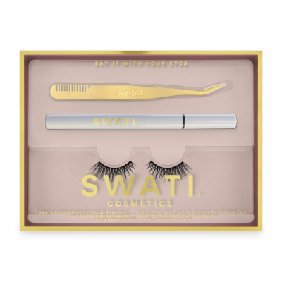 SWATI Classic kit with Vanta eyeliner, lash applicator and Amazonite vegan lashes.