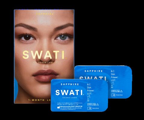 Dark blue coloured lenses - Sapphire SWATI Monthly Lenses