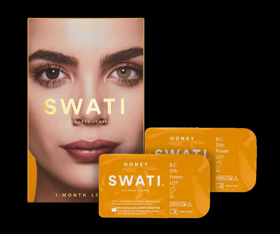 Hazel brown coloured lenses - Honey SWATI Monthly Lenses