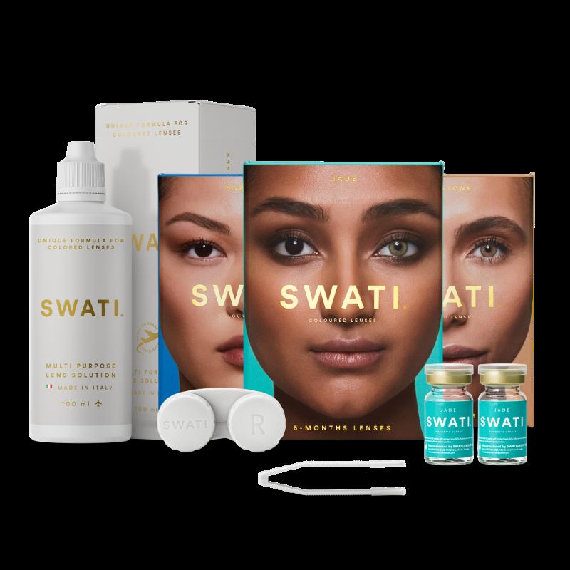 3 pack value bundle of 6-months lenses - SWATI Natural bundle & gift set