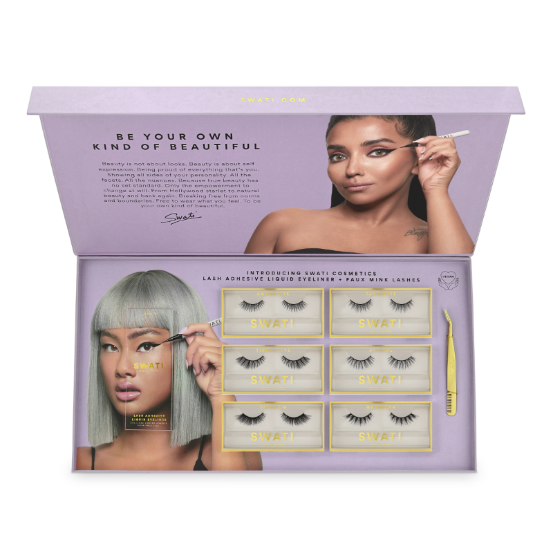 PR Box by Swati for eye makeup includes vegan lashes and adhesive eyeliner